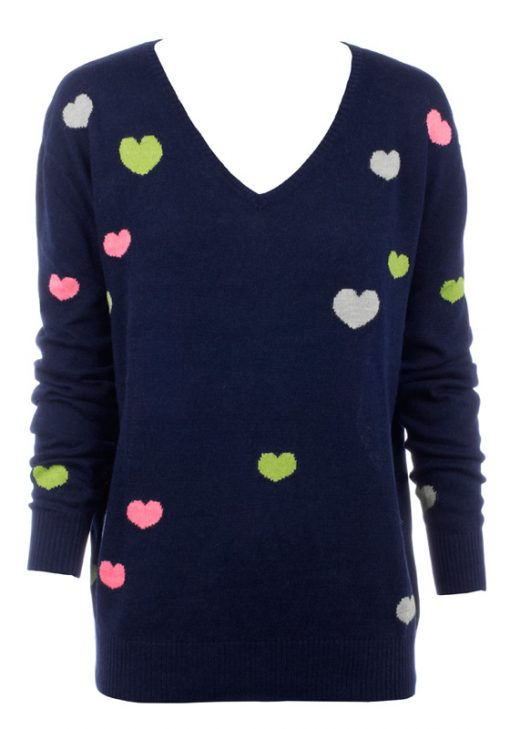 intarsia Knitted Mini Hearts - Navy with Mini Hearts