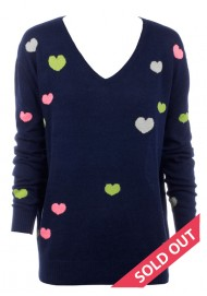 navy with mini hearts sweater