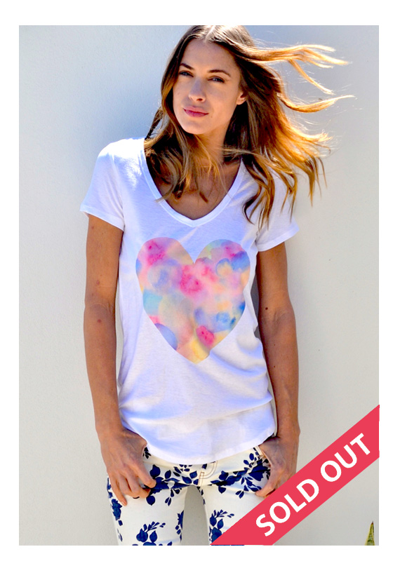 t-shirt with watercolour heart