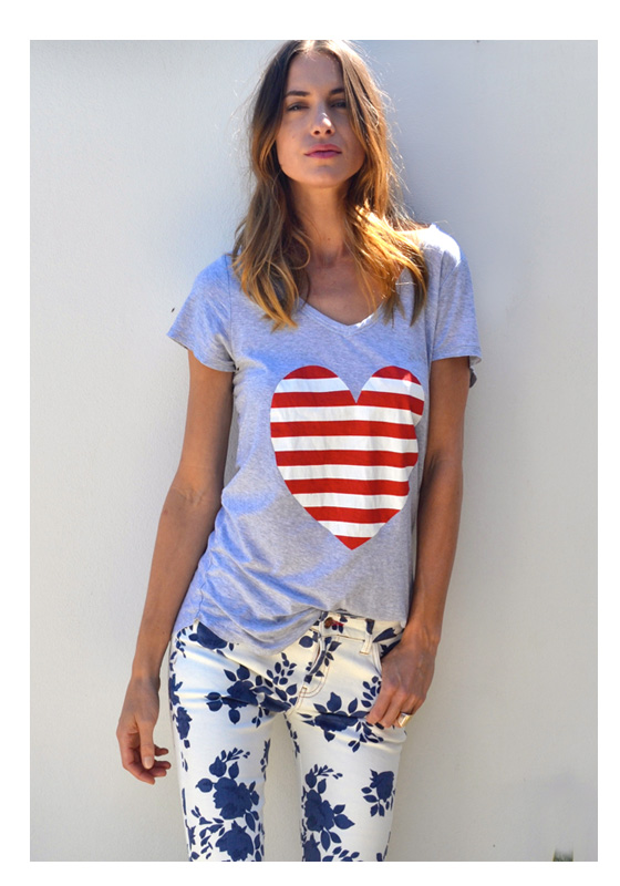 Love Heart T'Shirt - Red & White Stripe