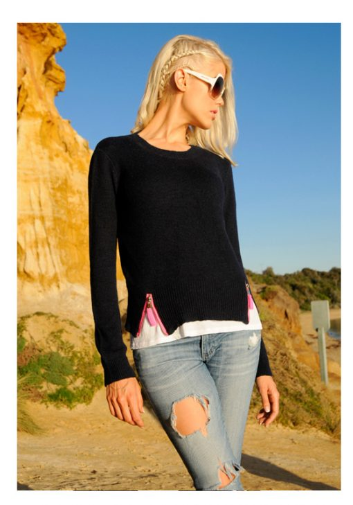 navy sweater with zips