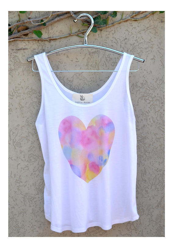 white singlet with watercolour heart