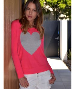 Watermelon with grey marle heart sweater