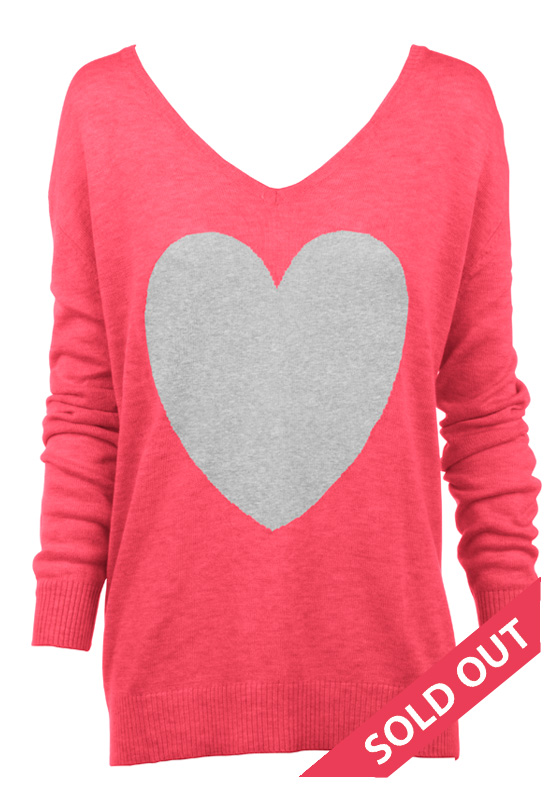 watermelon with grey heart sweater