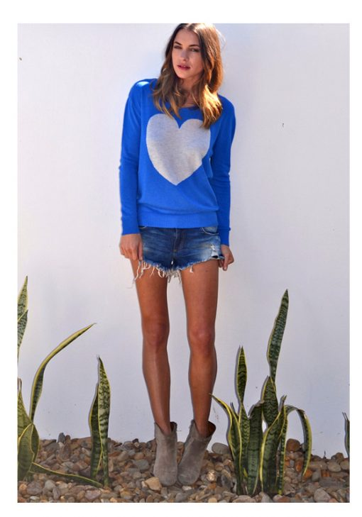 Electric blue with grey marle heart sweater