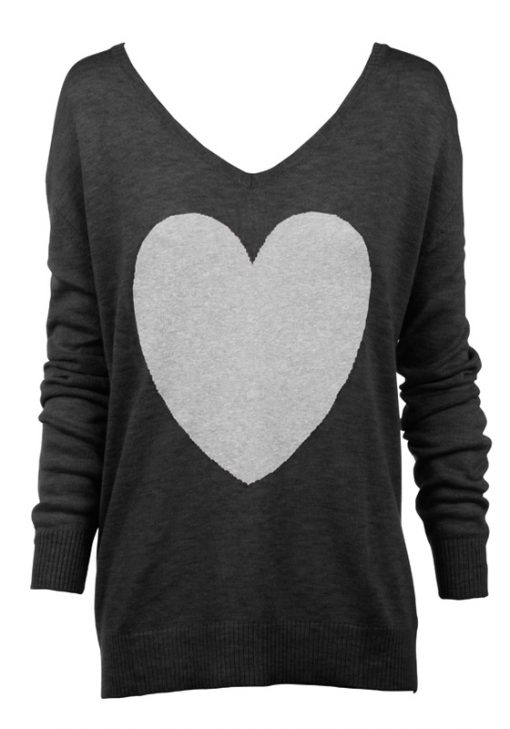 charcoal with grey marle heart sweater