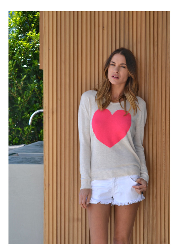 oatmeal with watermelon heart sweater
