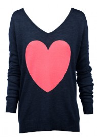navy with Watermewlon Heart Sweater