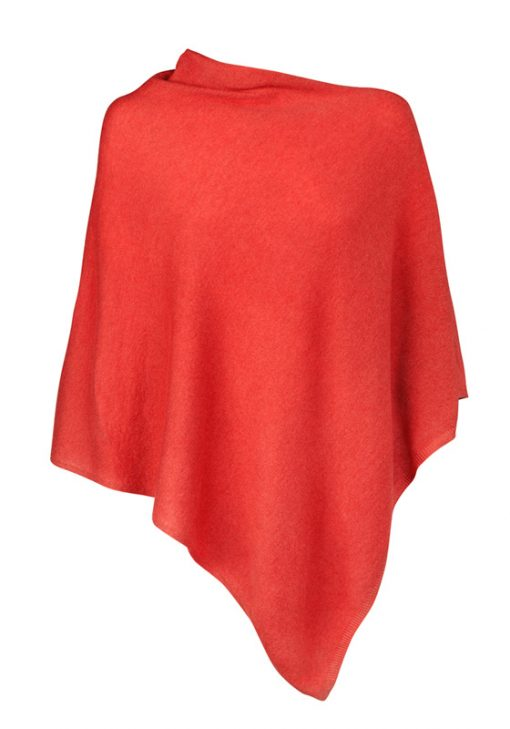 Red cashmere poncho