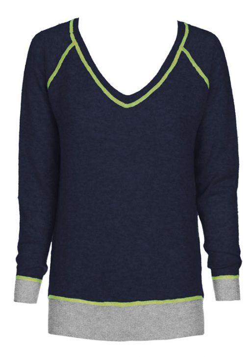 navy chartreuse vneck sweater