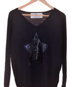 navy sequin star sweater