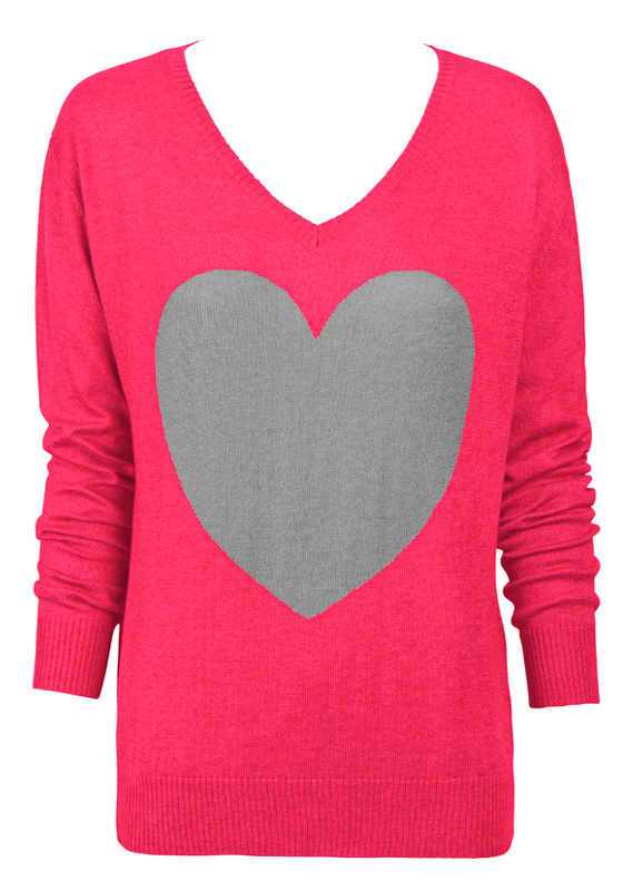 berry with grey heart sweater