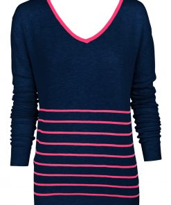 navy pink stripe sweater