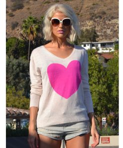Oatmeal Electric Pink Heart Sweater