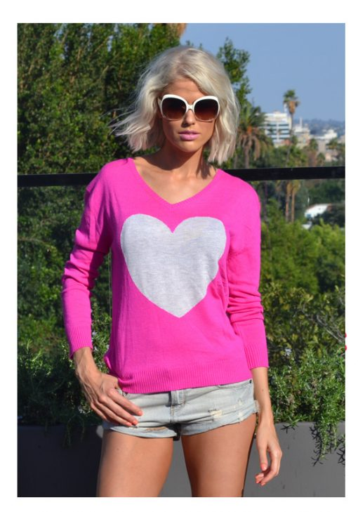 Electric Pink frost heart sweater