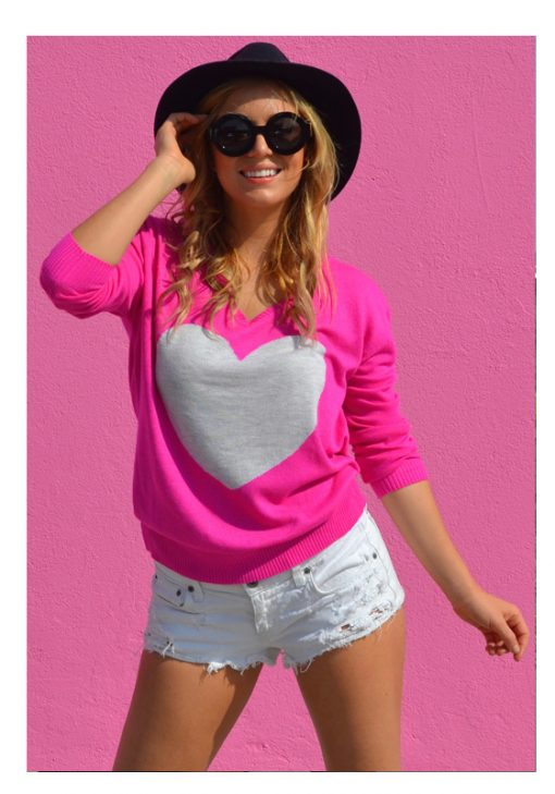 Electric pink with frost heart sweater