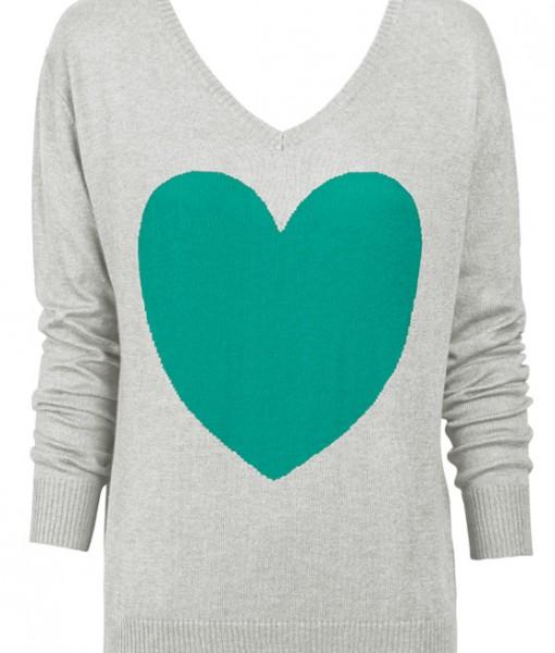 Frost & Jade Heart Sweater