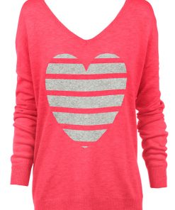 watermelon stripe heart sweater