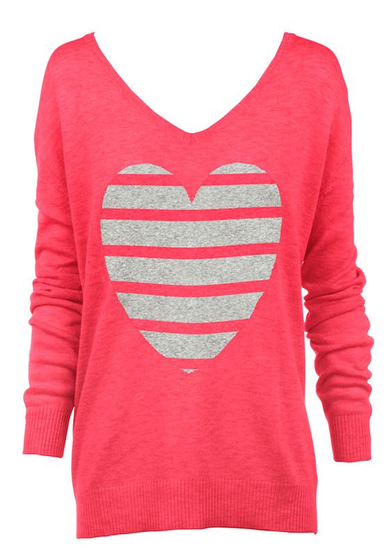 watermelon stripe heart sweater