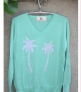 spearmint grey palm sweater