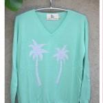 spearmint grey palm sweater
