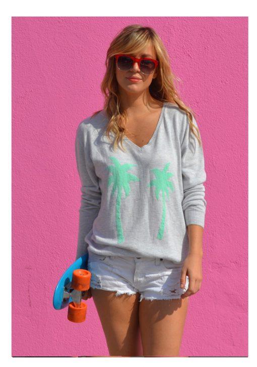 Grey Marle & Spearmint Palm Tree Sweater