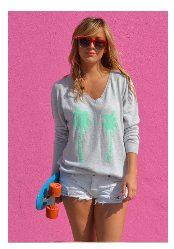 Grey Marle & Spearmint Palm Tree Sweater