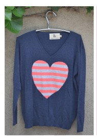Denim stripe heart sweater