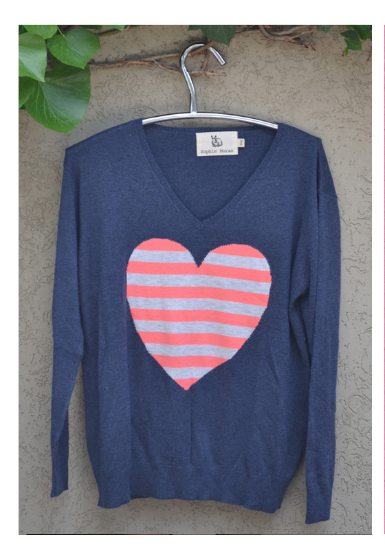 Denim stripe heart sweater