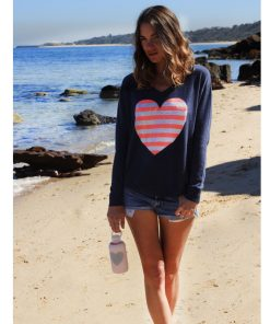 Denim Striped Heart Sweater