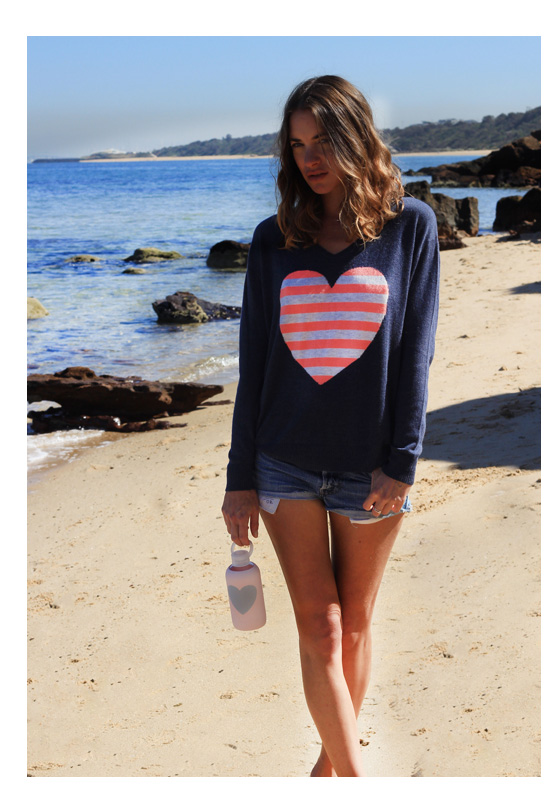 Denim Striped Heart Sweater