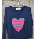 Silk Cashmere stripe heart sweater