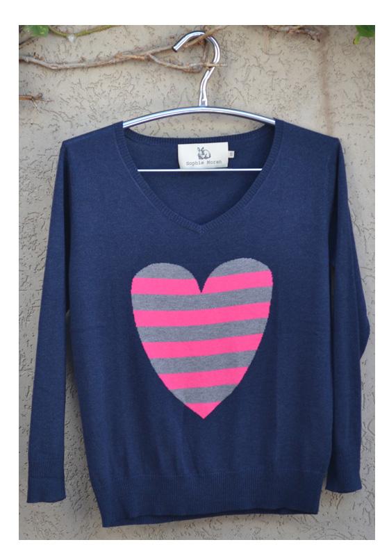 Silk Cashmere stripe heart sweater
