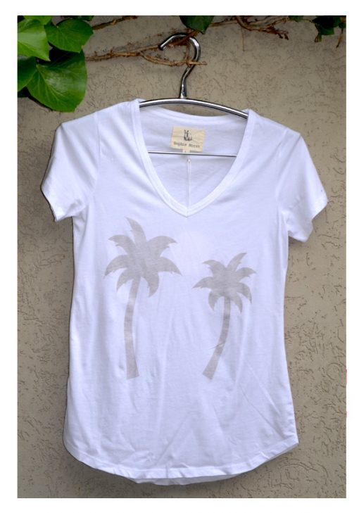 t-shirt white with grey palm tree