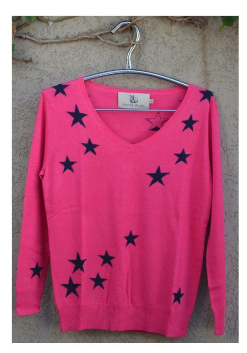 Silk cashmere star sweater pink