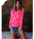 Silk cashmere star sweater pink