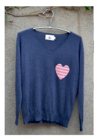 Denim Small striped heart sweater