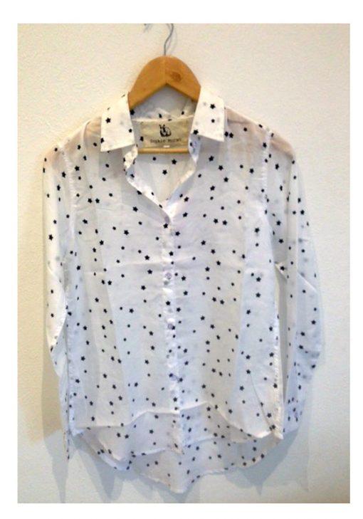 St Tropez Shirt White Black Stars